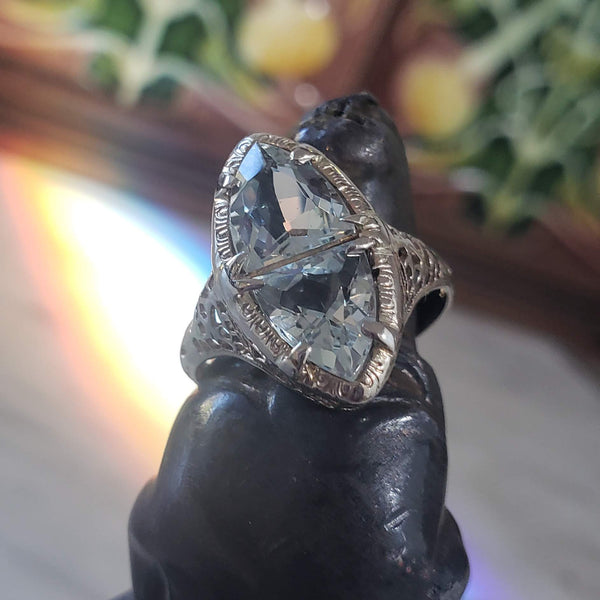14k white gold c.1920s filigree Aquamarine ring