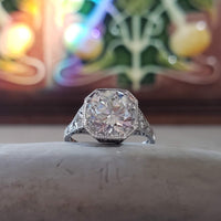 Platinum Edwardian Filigree 2.36ct diamond antique Ring