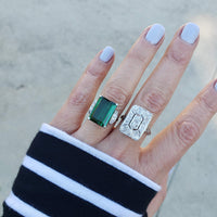 Platinum emerald cut  Green Tourmaline & Diamond estate Ring