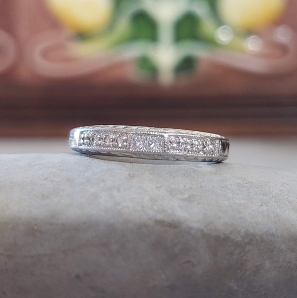 platinum princess cut diamond estate band