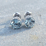 18k white gold Aquamarine & Diamond crown studs earrings - screw back
