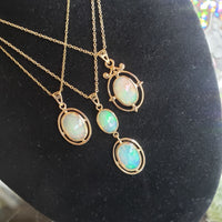 10k yellow gold Opal DECO necklace pendant