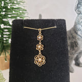 10k gold Victorian diamond floral drop necklace pendant lavaliere
