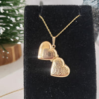 14k yellow gold estate heart locket pendant necklace