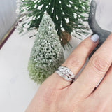 14k white gold vintage diamond bridal set - 1.02ct tw