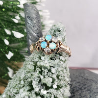 10k gold Victorian opal & rose cut diamond ring