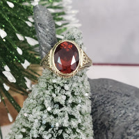 14k yellow gold CITRINE estate engraved ring