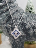 14k gold white gold sapphire & diamond DECO style necklace pendant