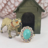 14k yellow gold Victorian turquoise & mine cut diamond halo ring