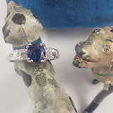 14k white gold Deco sapphire & diamond estate ring