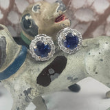 14k white gold blue sapphire and diamond halo studs