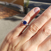 Platinum sapphire & diamond estate ring