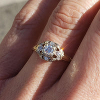 14k gold two tone diamond estate c.30's Art Deco engagement ring