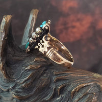 10k gold Victorian turquoise & pearl estate ring