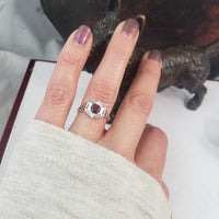 10k white gold c.20's c.30's Art Deco Garnet filigree Ring