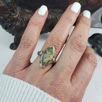 14k tri colored gold c.20s filigree Deco Moss Agate ring