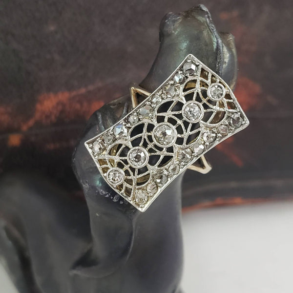 Platinum & 18k yellow gold diamond Edwardian filigree glove shield Ring