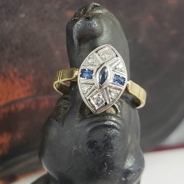 18k gold two diamond & sapphire Deco c.30's navette Ring