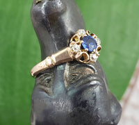 10K gold blue sapphire & mine cut diamond Edwardian Ring
