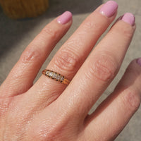 18k gold 5 old cut diamond estate band - Victorian