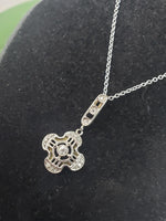 platinum & 18k gold Deco c.20's s diamond filigree necklace pendant