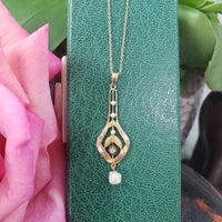 10k gold Victorian old mine cut diamond & pearl necklace pendant lavaliere