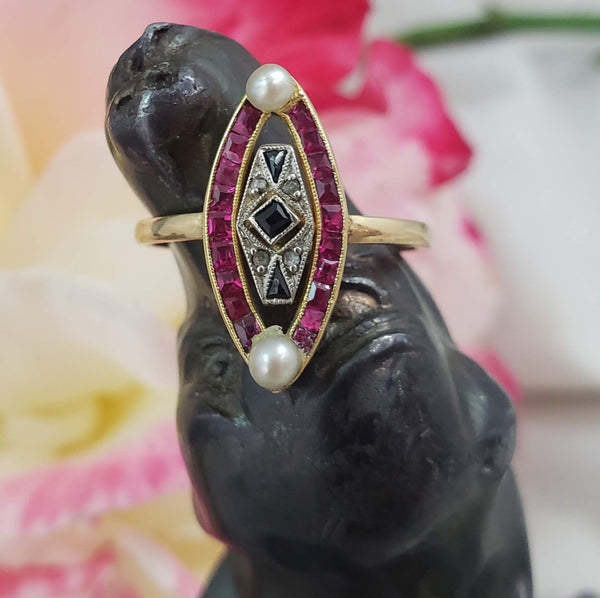 18k gold two tone ruby, sapphire, pearl & rose cut diamond navette ring - red white & blue ON HOLD