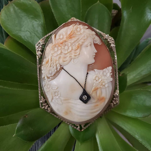 14k gold c.1920s filigree carved shell cameo brooch pendant BIG