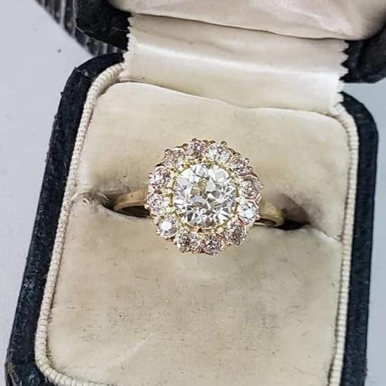14k yellow  gold Edwardian Halo engagement Ring