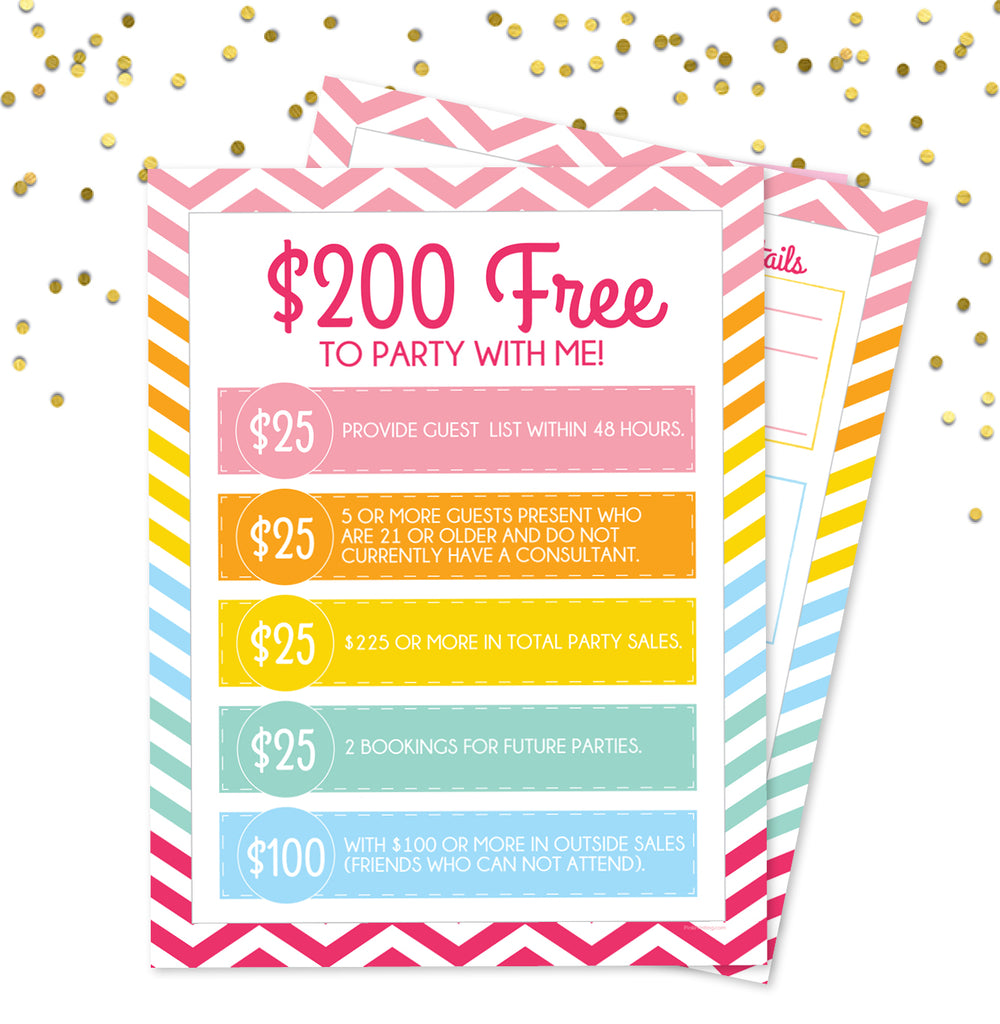 Party with Me Hostess sheets - 200 Free when you party with me