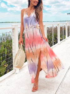 Striped sleevless beach holiday maix dresses