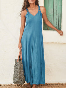V Neck Casual Sleeveless Cotton-Blend Dresses