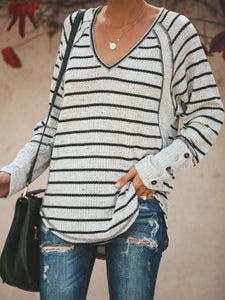 Women Casual Tops Tunic Plus Size Striped Sweater