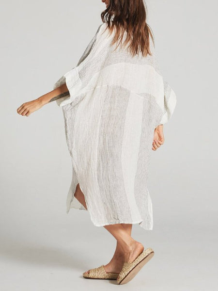 Casual 3/4 Sleeve Crew Neck Stripes Dresses