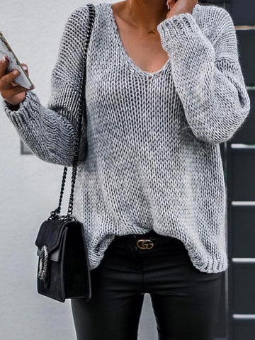 Daytime Plain Long Sleeve V Neck Sweaters