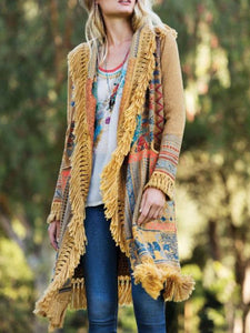 Tassel Printed Casual Color-Block Patchwork Shawl Collar Outerwear