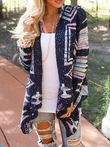 Printed Patchwork Long Sleeve Knitted Sweater