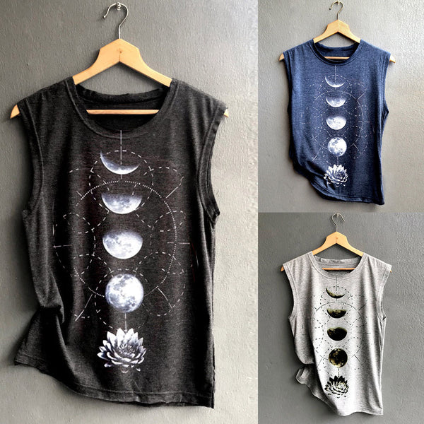 Sleeveless Round Neck Cotton-Blend Shirts & Tops