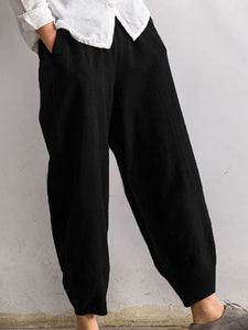 Casual Linen Solid Pockets Elastic Band Pants