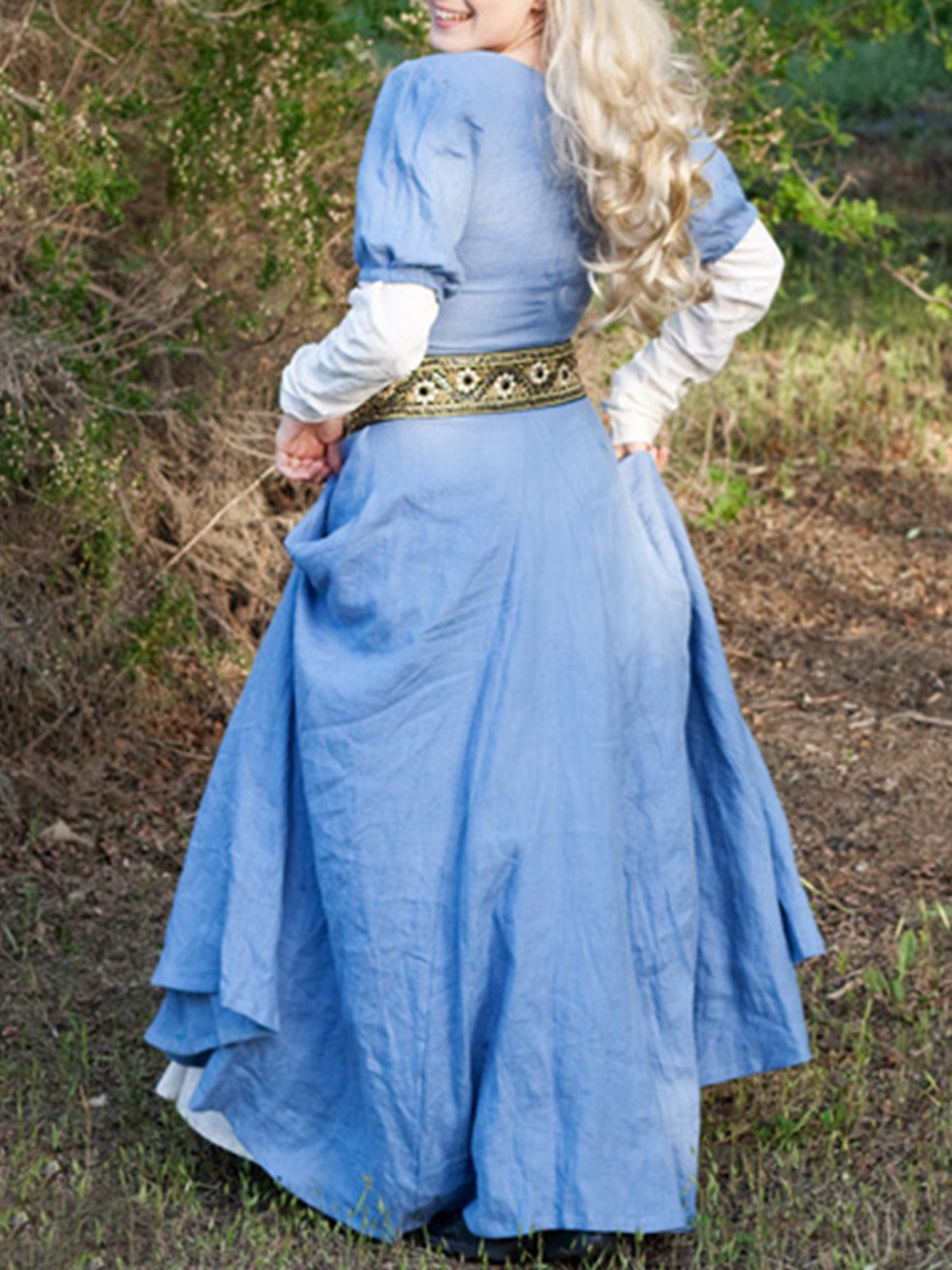 medieval Cotton Long Sleeve Dresses