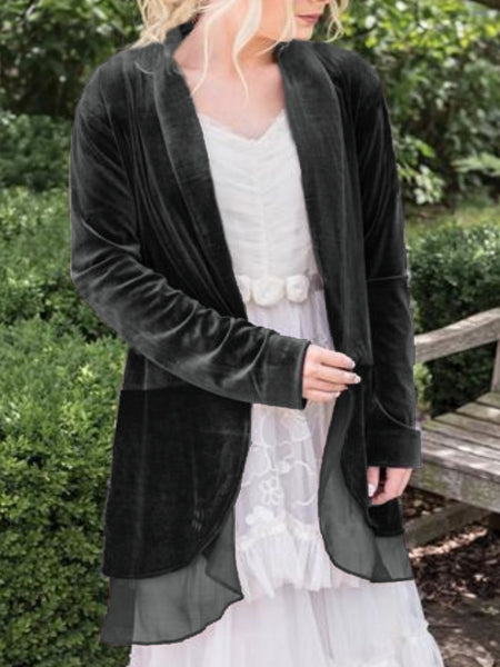 Plus Size Casual  Solid Long Sleeve Velvet Outerwear