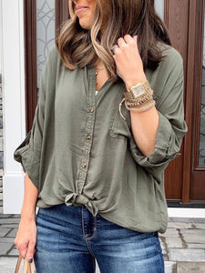 Green Cotton Solid Casual V Neck Shirts & Tops
