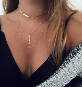 Womens 2-Layered Alloy Necklaces