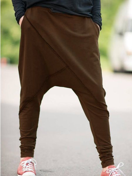 Cotton-Blend Solid Casual Pants