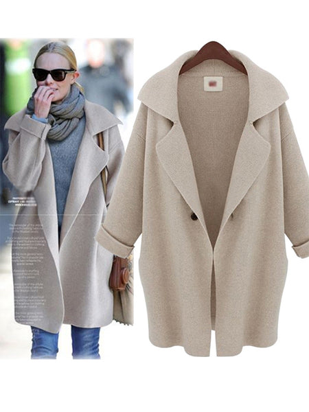 Tailored Collar Solid Color One-button Women Coat