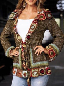 Knitted Vintage Tribal V Neck Sweater