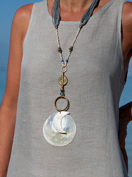 Handmade Moon Pendants combined with Glass Beads and Waxed Cotton Treads Necklace