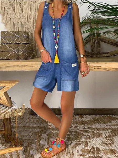 Blue Cotton Casual One-Pieces