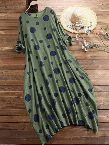 Plus Size Polka Dots Long Sleeve Crew Neck Vintage Casual Dresses