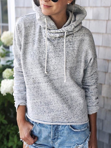 Plus Size Casual Long Sleeve Hoodie Tops